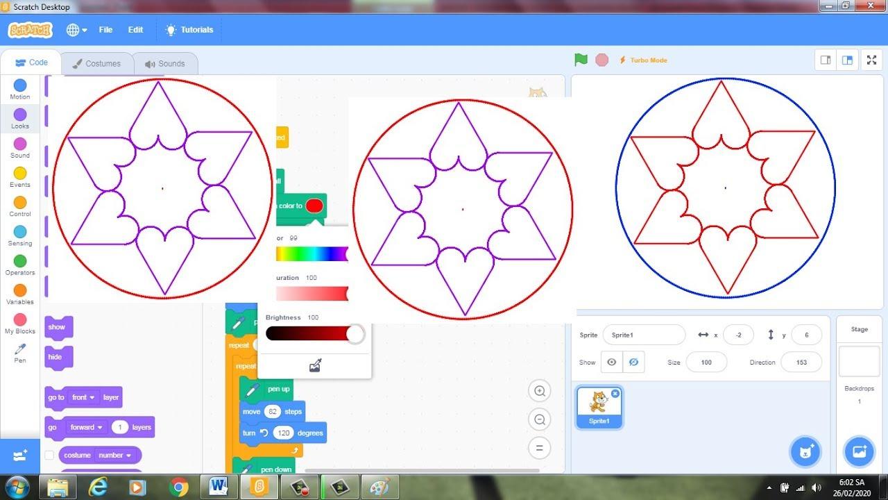 Hướng Dẫn Cách Lập Trình Scratch Vẽ Sáu Trái Tim Nội Tiếp Đường Tròn|VĐD