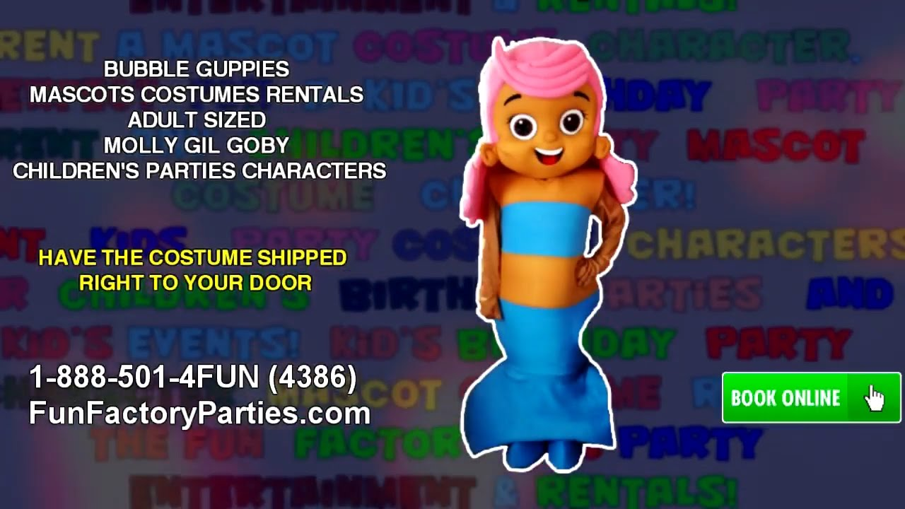 Bubble guppies character rental - Bubble Guppies Mascots Costumes Rentals Adult Sized Molly Gil Goby Children S Parties Characters