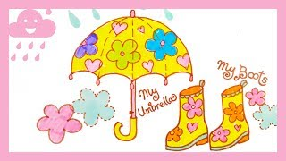 How to draw UMBRELLA & RAIN BOOTS | Art colors for kids | easy step by step