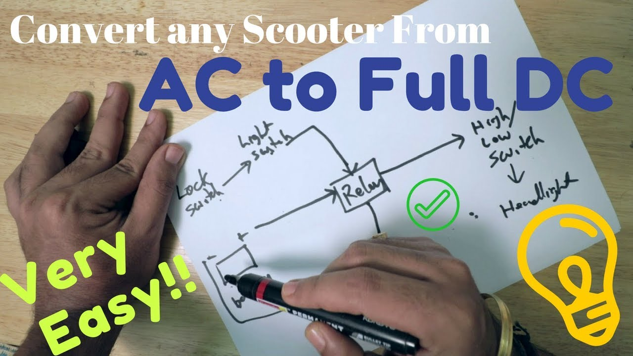 Convert any Scooter From AC to Full DC   Activa   change headlight connection from engine to