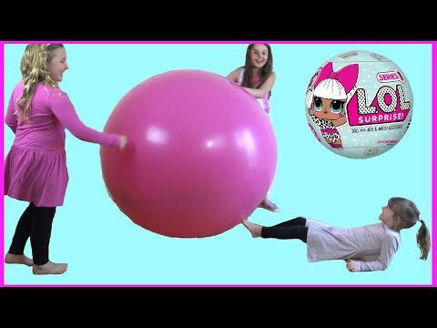 GIANT BALLOON Pop Challenge Surprise with LOL Baby Dolls and a Special Guest