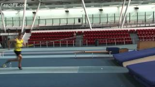 Four Step running plant and take off Pole Vault drill