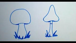 Учимся рисовать грибы