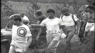 US prisoners of war, liberated from Japanese prison, are escorted back to America...HD Stock Footage