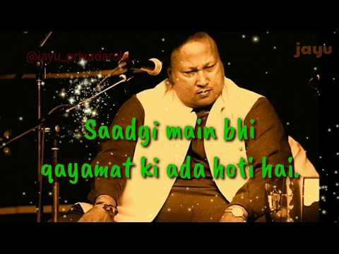 sadgi-main-bhi-qayamat-ki-ada-hoti-hai-|-nusrat-fateh-ali-khan-whatsapp-status-|-lyrics-video