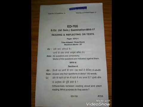 B  Ed first semester question paper, Reading & Reflecting on Texts