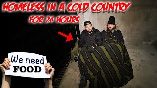 HOMELESS IN THE FREEZING COLD // 24 HOUR OVERNIGHT CHALLENGE HOMELESS!