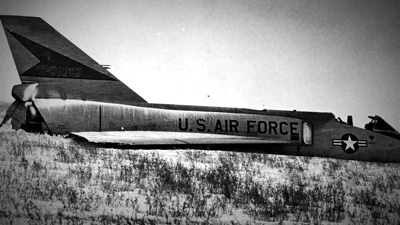 During a training mission from Malmstrom AFB on Feb. 2, 1970, this F-106 entered an uncontrollable flat spin forcing the pilot, Maj. (Ret.) Gary Foust, to eject. Unpiloted, the aircraft recovered on its own and made a gentle belly landing in a field near Big Sandy, Mont.