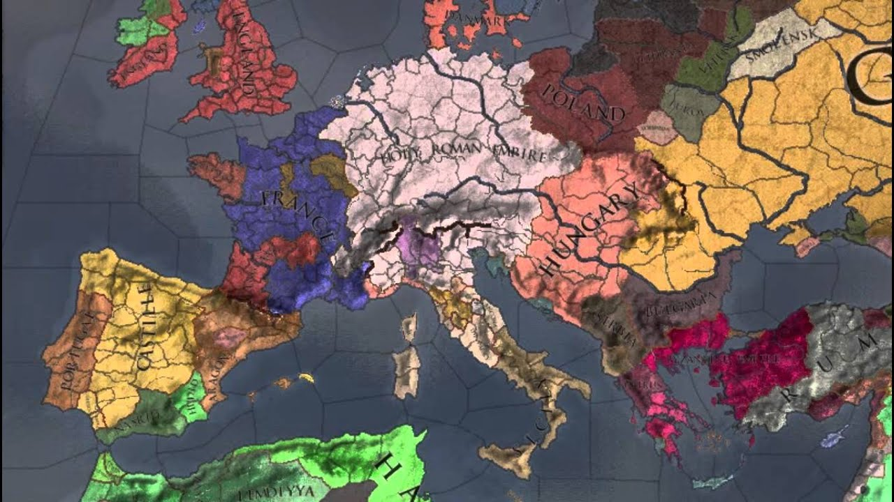 Timelapse: Medieval Europe (historical changes, Crusader Kings II ...