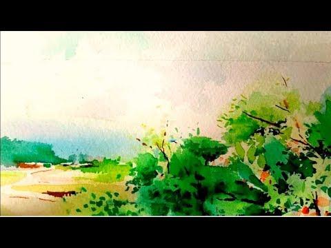 Watercolor landscape painting 수채화 나무그리기 풍경화 水彩