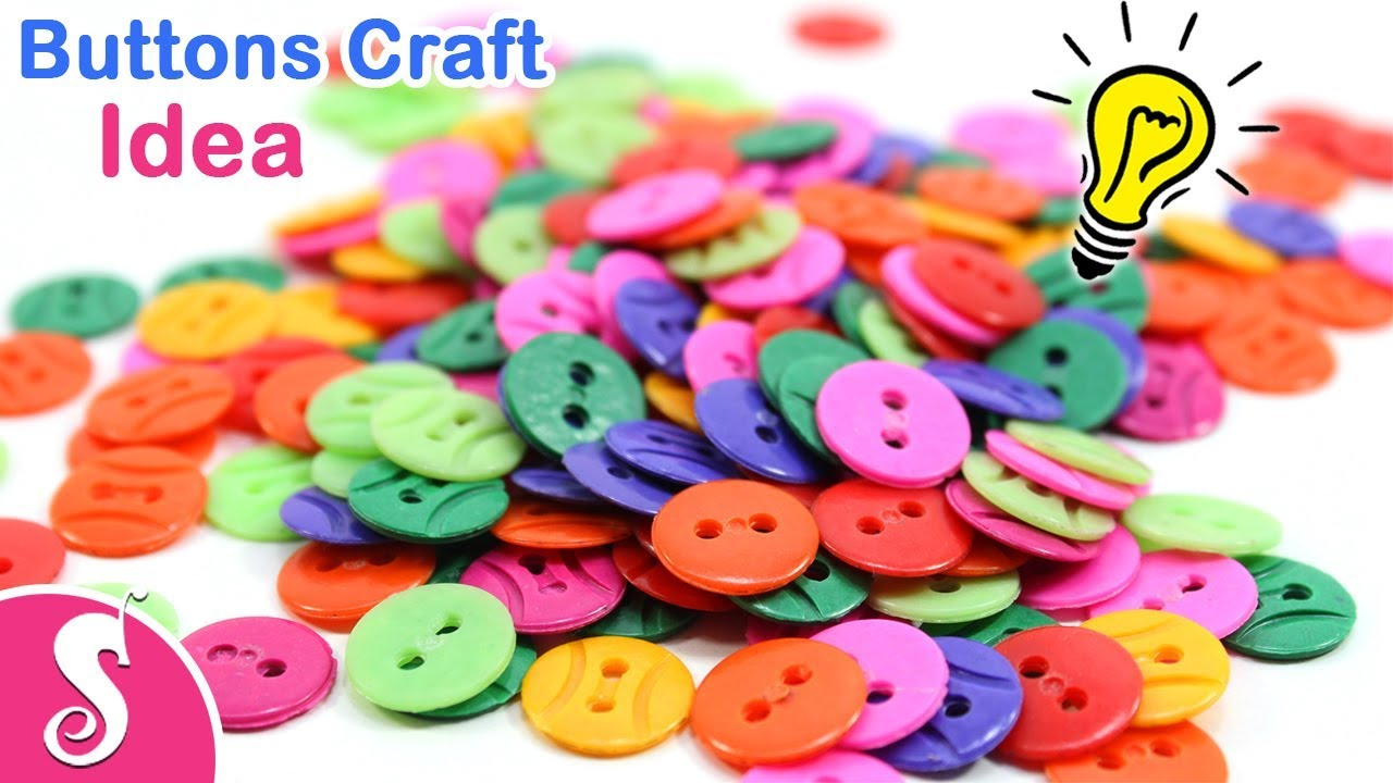 Button Craft Idea Make Necklace Hair Clips Earrings Flower Vase