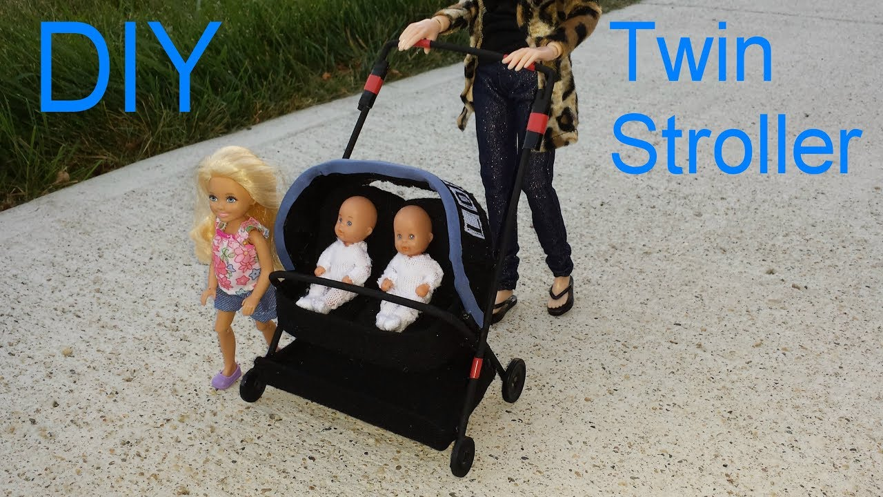 DIY Miniature Doll Twin Baby Stroller