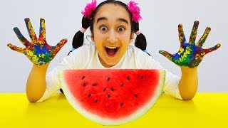 Gamze Play With Paints & Watermellon, Wash Your Hands, For kids video