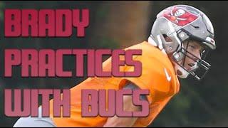 Tom Brady Wears Bucs Helmet, Practice Jersey For First Time In Workout