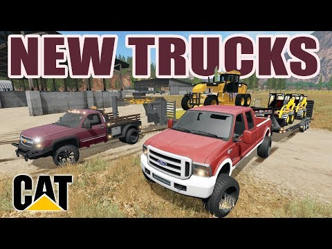 FARMING SIMULATOR 2017   HAULING CAT CONSTRUCTION EQUIPMENT WITH THE NEW CHEVY & FORD