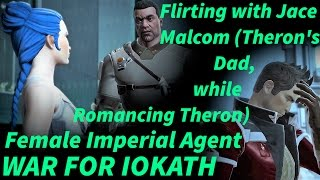 SWTOR War For Iokath - Female Agent Flirts with Theron Shan