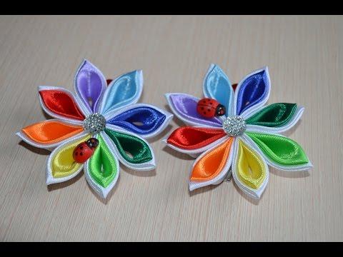 видео цветы из атласных лент своими