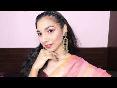 desi-cute-makeup-look-for-indian-wedding-|-pink-glittery-eye-makeup-look-|-shara-makeup-tutorial-|
