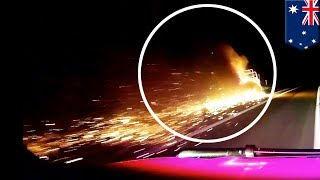 Car towing fails: Crazy police chase dash cam shows car towing trailer on fire - TomoNews