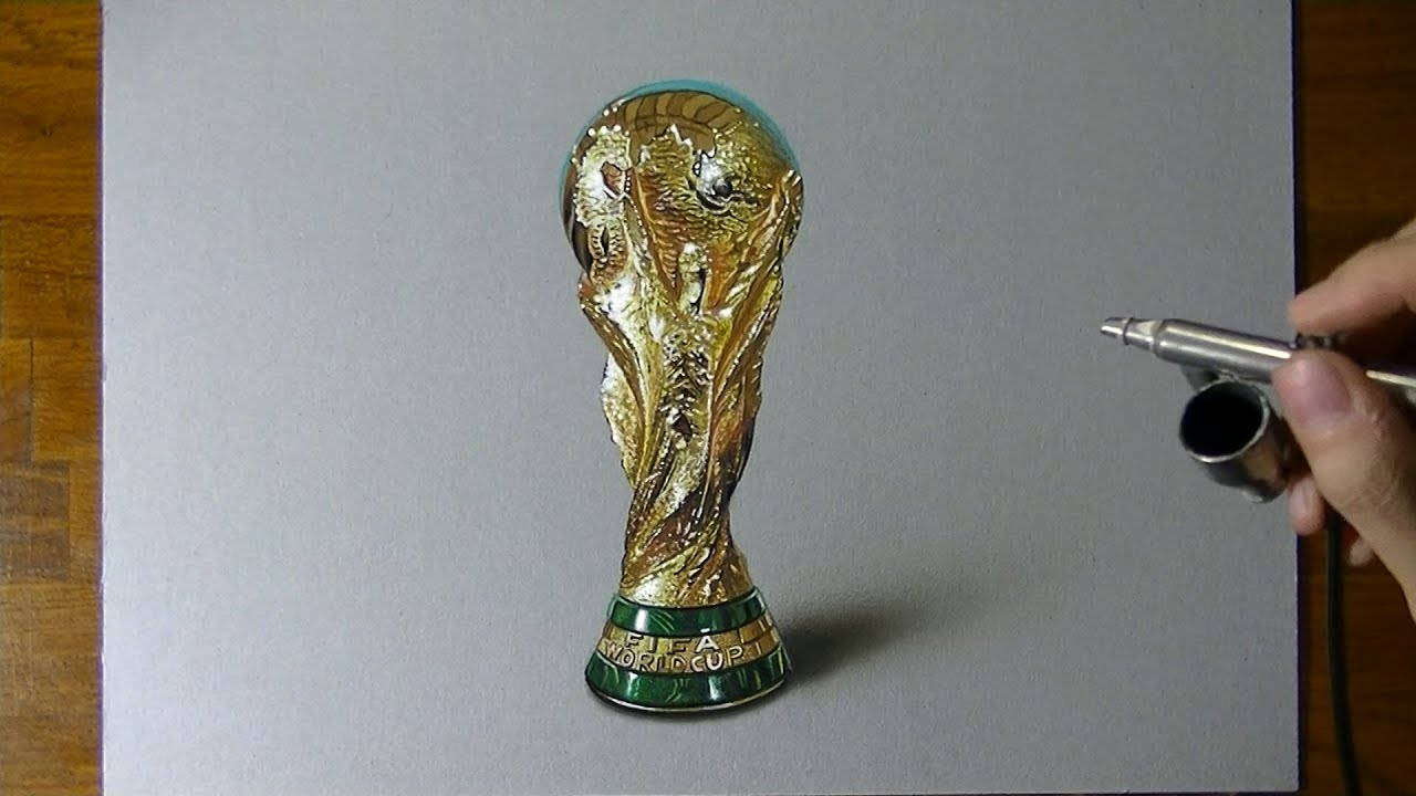 Amazing 3d drawing of fifa world cup trophy youtube