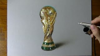 Drawing Time Lapse: Fifa World Cup Trophy (germany Won It) - Hyperrealistic Art