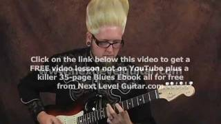 Surf melody guitar lesson on a Fender Stratocaster with tabs chords and rhythms
