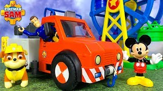 FIREMAN SAM RESCUES PAW PATROL MICKEY DOC MCSTUFFINS FROM FERRIS WHEEL