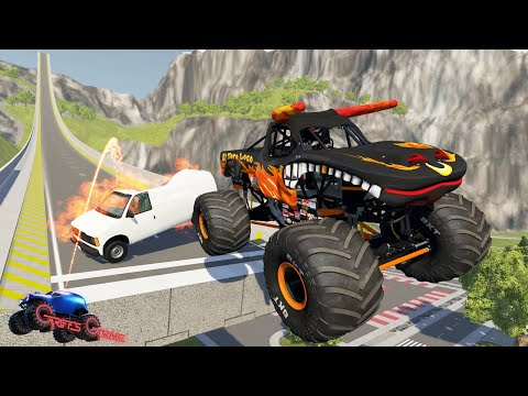 INSANE MONSTER JAM JUMPS AND CRASHES #2! - BeamNG Drive   Griff's Garage  