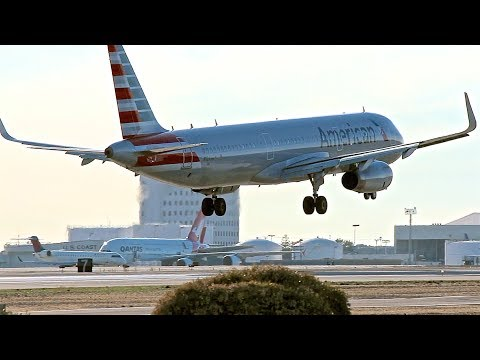 American Airlines Airbus A321 w/ Sharklets arriving at LAX