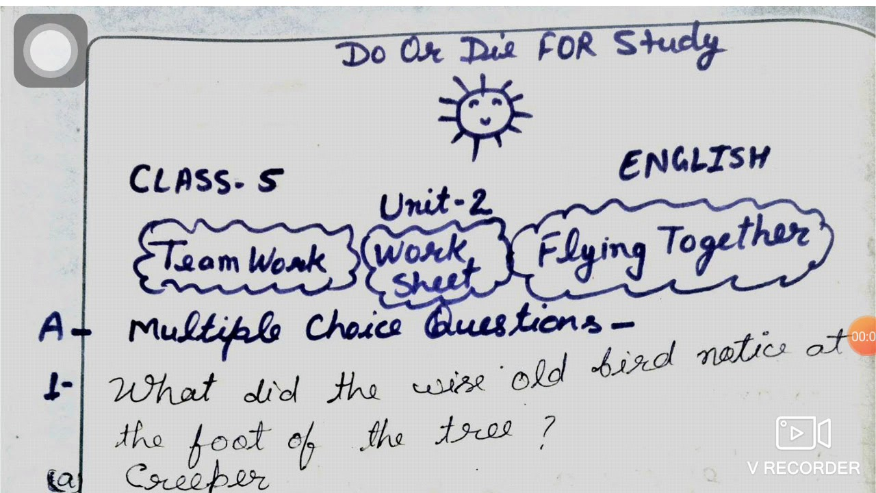 hight resolution of Teamwork Question Answer  Mcq Worksheet Class 5 English - YouTube
