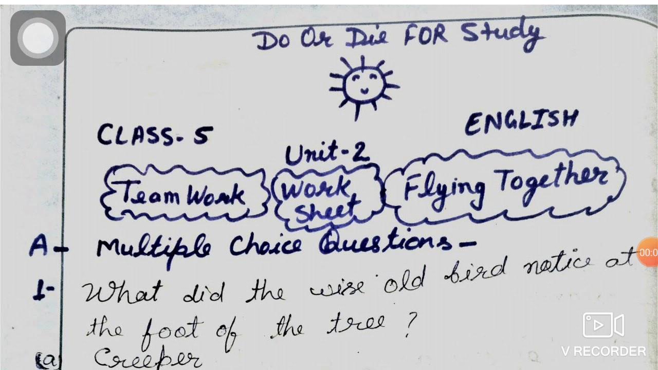 Teamwork Question Answer  Mcq Worksheet Class 5 English - YouTube [ 720 x 1280 Pixel ]