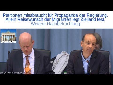 Petitionen missbraucht für Propaganda der Regierung. Reisewunsch der Migranten legt Zielland fest