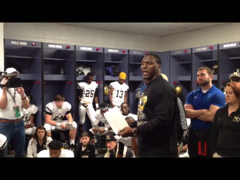 Takeo Spikes gives speech before GHSA title game