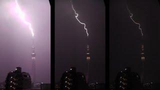 2013年8月21日22時30分ごろ、東京スカイツリー周辺にゲリラ雷雨が発生、...
