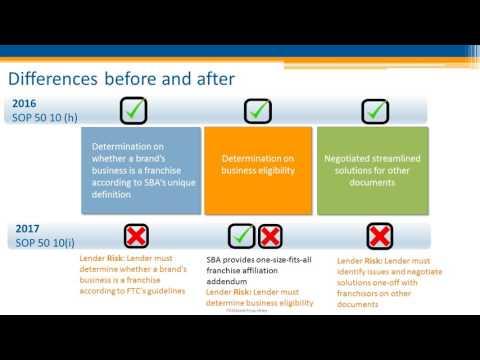 Franchisor Webinar: The New SBA Franchise SOP and the Franchise Registry UPDATED