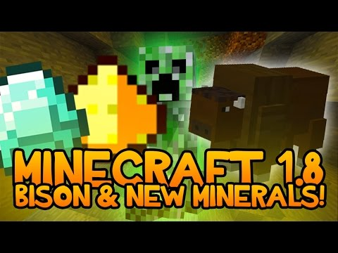 BISONS, CRAZY MINERALS, AND NEW ORES! Minecraft 1.8 Mod Showcase