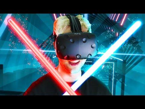 JEDI LIGHTSABERS in VIRTUAL REALITY (BeatSaber VR)