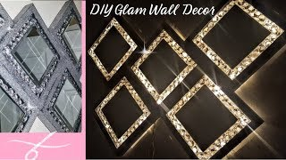 Super Glam Wall Decor With Lights | Diy Dollar Tree Home Decor | Wall Light | Glam Mirror | Sconce