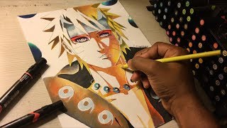 Naruto Sage of six paths with Rinnegan - color pencil drawing | Mamdeen