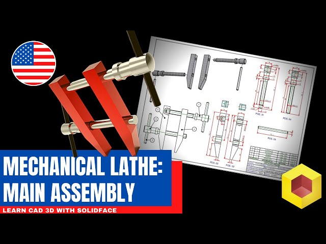Learn CAD 3D with SolidFace - Mechanical Lathe: Assembly
