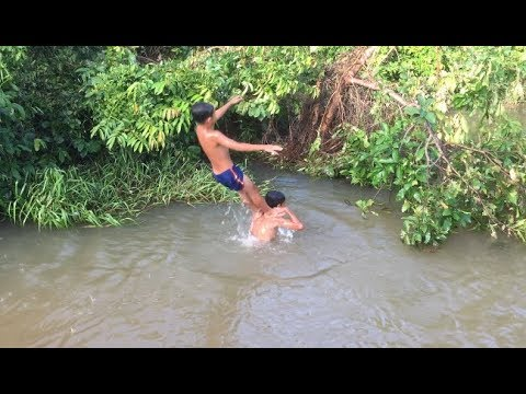 Kids Swimming in River for Cancer - YouTube