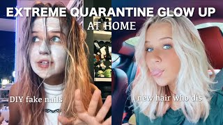 Extreme at-home Quarantine Glow Up // DYING MY HAIR AND FAKE NAILS