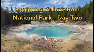 Camping in the Yellowstone National Park Day 2 - waterfall, river, springs, bisons, elks, and more!