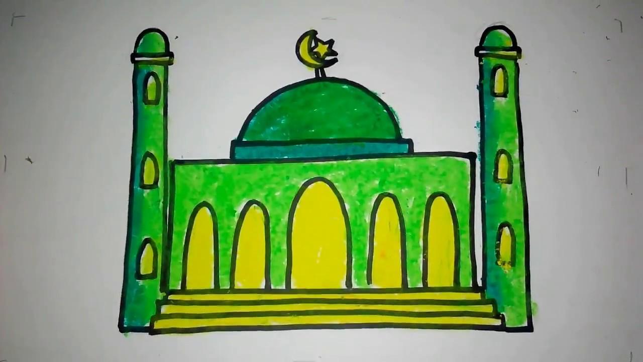 Cara Menggambar Masjid Untuk Anak Tk Youtube