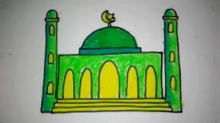 cara menggambar masjid untuk anak TK