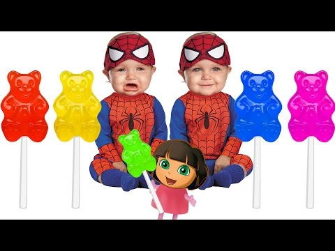 Thumbnail: Spiderman Bad Baby Crying Gummy Bear Lollipop Colors Learn Finger Family Collection