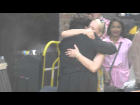 Sherlock S3 Filming 21082013  Benedict says hello to Amanda Abbington