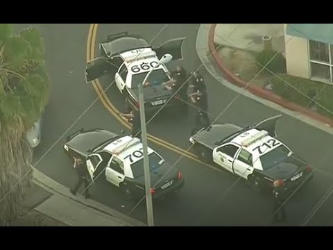 Los Angeles high speed police chase ends with gunfire. driver shot multiple times