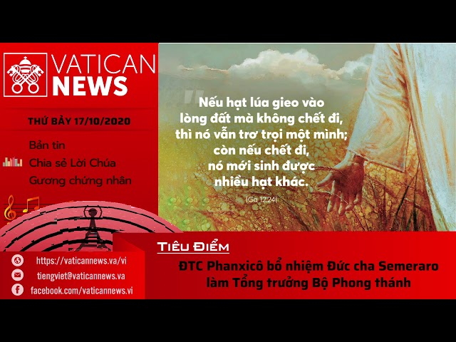 Radio: Vatican News Tiếng Việt thứ Bảy 17.10.2020