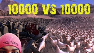 10000 Chickens VS 10000 Penguins